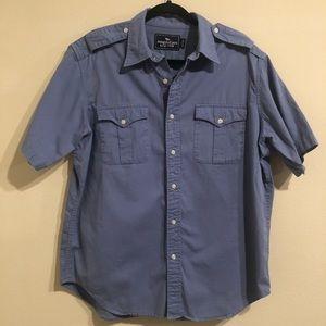 Blue outdoor short-sleeve button up w/ pockets